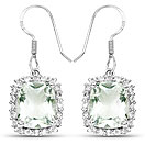 10.48CTW Genuine Green Amethyst & White Topaz .925 Sterling Silver Dangle Earrings
