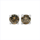 0.49CTW Genuine Champagne Diamond .925 Sterling Silver Earrings
