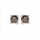 0.25CTW Genuine Champagne Diamond .925 Sterling Silver Earrings