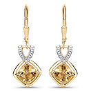 1.84CTW Genuine Citrine 14K Yellow Gold Plated .925 Sterling Silver Earrings
