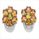 4.73CTW Orange & Yellow Sapphire .925 Sterling Silver Earrings