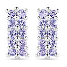 1.40CTW Tanzanite .925 Sterling Silver Cluster Shape Earrings