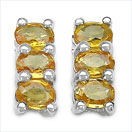 1.50CTW Genuine Yellow Sapphire .925 Sterling Silver Earrings