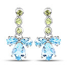 5.51CTW Blue Topaz & Peridot .925 Sterling Silver Earrings