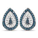 0.47CTW Genuine Blue Diamond & White Diamond .925 Sterling Silver Earrings