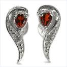 0.42CTW Natural Garnet & Diamond .925 Sterling Silver Earrings