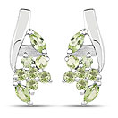 1.00CTW Genuine Peridot .925 Sterling Silver Earrings