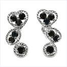 1.04CTW Black Sapphire .925 Sterling Silver Earrings
