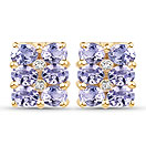 2.06CTW Genuine Tanzanite & White Diamond .925 Sterling Silver Gold Plated Earrings