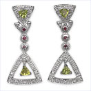 """1.42CTW Peridot, Ruby & Cubic Zircon .925 Sterling Silver Earrings"""