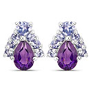 1.52CTW Natural Amethyst & Tanzanite .925 Sterling Silver Earrings