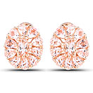 3.46CTW Genuine Morganite 18K Rose Gold Plated .925 Sterling Silver Floral Shape Tops Earrings