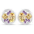 3.90CTW Genuine Citrine & Amethyst .925 Sterling Silver Earrings