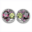 4.70CTW Genuine Rhodolite & Peridot .925 Sterling Silver Earrings