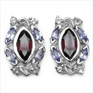 2.62CTW Genuine Garnet & Tanzanite .925 Sterling Silver Earrings