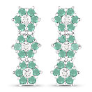 1.11CTW Emerald & White Diamond .925 Sterling Silver Floral Shape Earrings