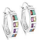 1.98CTW Multi Gemstones .925 Sterling Silver Earrings