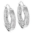 0.24CTW Genuine White Diamond .925 Sterling Silver Hoops Earrings