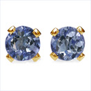 Eye Catching 0.22CTW Genuine Tanzanite 14K Solid Yellow Gold Studs.