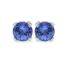 0.94CTW Genuine Round Shape Tanzanite .925 Sterling Silver Earrings
