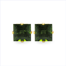 1.36CTW Genuine Chrome Diopside 10K Yellow Gold Stud Earrings