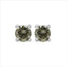 0.42CTW Genuine Champagne Diamond .925 Sterling Silver Earrings