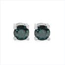 0.56CTW Genuine Blue Diamond .925 Sterling Silver Earrings
