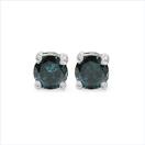 0.58CTW Genuine Blue Diamond .925 Sterling Silver Earrings
