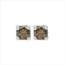0.47CTW Genuine Champagne Diamond .925 Sterling Silver Earrings