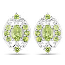 1.42CTW Peridot .925 Sterling Silver Earrings