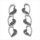0.10CTW Genuine Blue Diamond .925 Sterling Silver Earrings