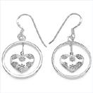 Heart Shape .925 Sterling Silver Earrings
