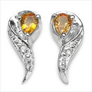 0.41CTW Yellow Sapphire & Diamond .925 Sterling Silver Earrings