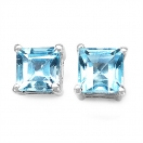 1.90CTW Genuine Blue Topaz .925 Sterling Silver Earrings