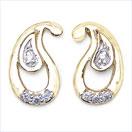 0.08CTW 18K Yellow Gold White Diamond Earrings
