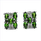 0.82CTW Genuine Chrome Diopside & White Topaz .925 Sterling Silver Earrings
