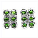 2.34CTW Genuine Chrome Diopside & White Topaz .925 Sterling Silver Earrings