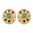 2.04CTW Navratna 14K Yellow Gold Plated Brass Earrings