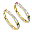 """Jaipuriya Green Onyx, Pink Glass & White Cubic Zirconia Gold Plated Brass Bangles"""