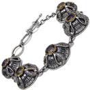 31.30 Grams Multigemstones Silver & Copper Bracelet