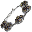29.20 Grams Multigemstones Silver & Copper Bracelet