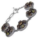 28.90 Grams Multigemstones Silver & Copper Bracelet