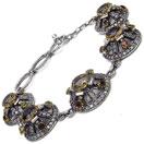 23.40 Grams Multigemstones Silver & Copper Bracelet