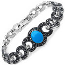 23.20 Grams Turquoise Onyx & Marcasite .925 Sterling Silver Bracelet