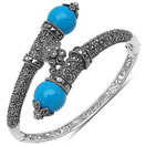 19.50 Grams Turquoise Onyx & Marcasite .925 Sterling Silver Bangle