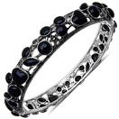 34.10 Grams Black Onyx & Marcasite .925 Sterling Silver Bangle