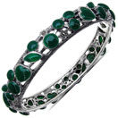 36.40 Grams Green Onyx & Marcasite .925 Sterling Silver Bangle