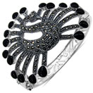 44.40 Grams Black Onyx & Marcasite .925 Sterling Silver Peacock Shape Bangle