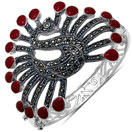 44.70 Grams Red Onyx & Marcasite .925 Sterling Silver Peacock Shape Bangle