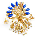 """9.40 Grams Blue Stone, White Synthetic Pearl & White Cubic Zirconia with Enamel Gold Plated Brass Peacock Shape Brooch"""